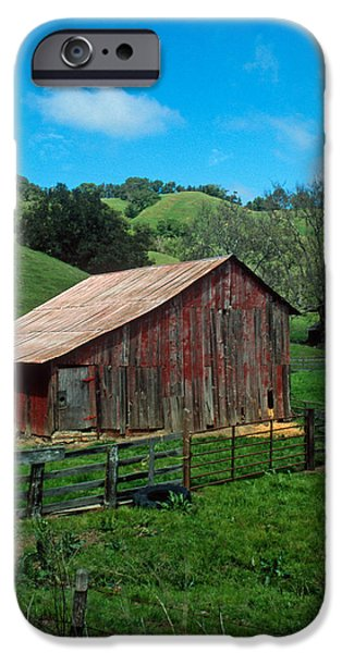 Barn Print Photographs iPhone Cases - Old Red Barn iPhone Case by Kathy Yates