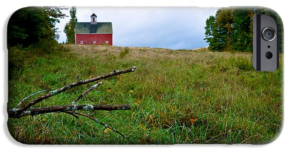 Barns iPhone Cases - Old Red Barn on the Hill iPhone Case by Edward Fielding