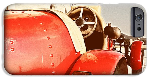 Antiques iPhone Cases - old Red Race Car iPhone Case by Stylianos Kleanthous