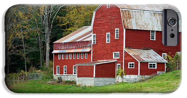 Agricultural iPhone Cases - Old Red Vermont Barn iPhone Case by Edward Fielding