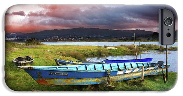 Autumn iPhone Cases - Old Row Boats iPhone Case by Carlos Caetano