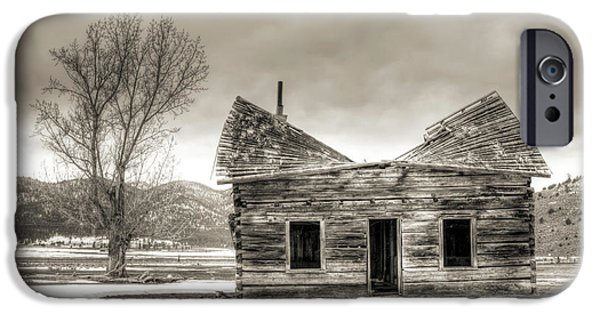 Abandoned House iPhone Cases - Old Rustic Log Cabin in the Snow iPhone Case by Dustin K Ryan