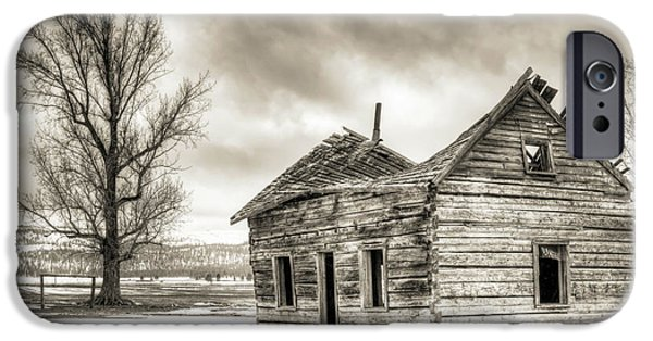 Log Cabins iPhone Cases - Old Rustic Log House in the Snow iPhone Case by Dustin K Ryan