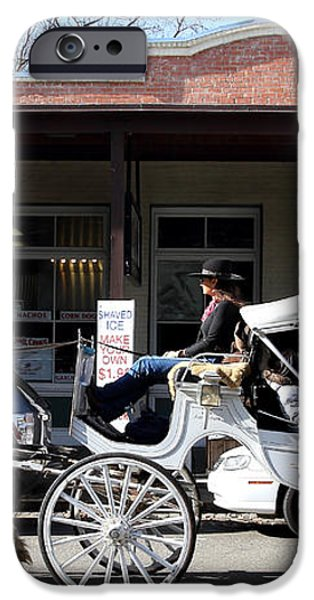 Old Sacramento California . Horse Drawn Buggy . Long Cut . 7D11482 iPhone Case by Wingsdomain Art and Photography