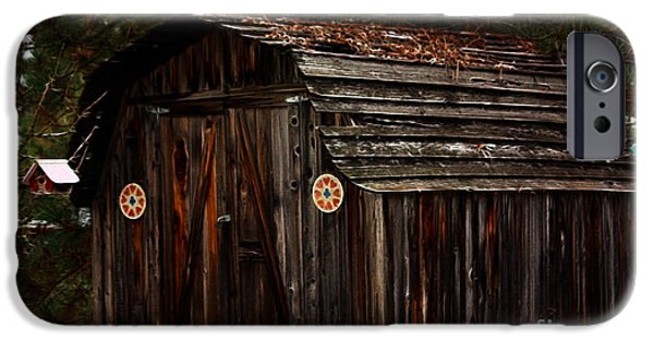 Shed Mixed Media iPhone Cases - Old Shed Oakhurst iPhone Case by Marjorie Imbeau