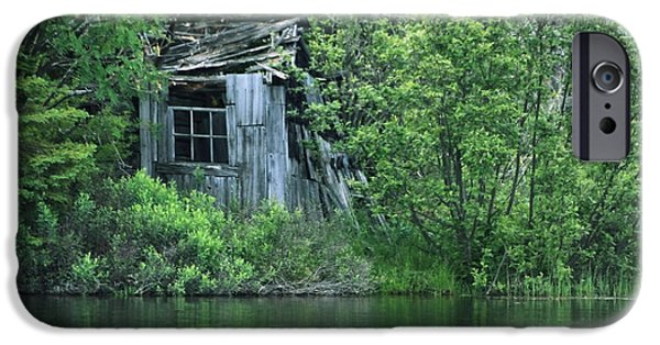 Shed iPhone Cases - Old Shed on the Lake iPhone Case by Marjorie Imbeau