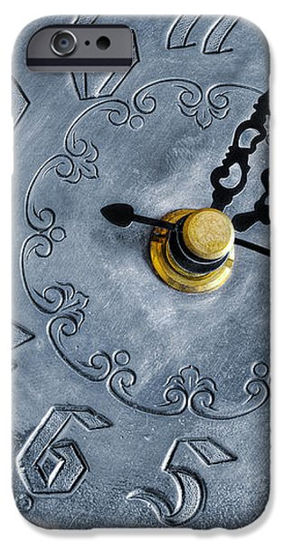 Old silver clock iPhone Case by Carlos Caetano
