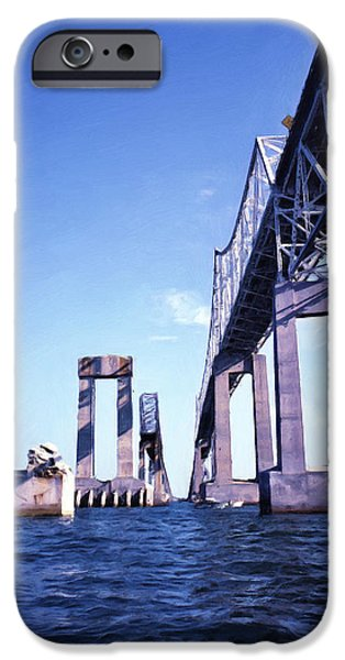 Bay Bridge Mixed Media iPhone Cases - Old Sunshine Skyway Bridge iPhone Case by Richard Rizzo
