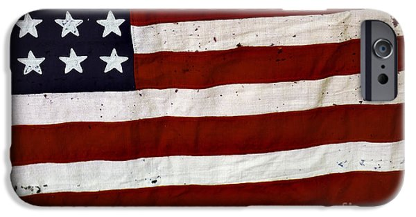 Patriotism iPhone Cases - Old USA flag iPhone Case by Carlos Caetano