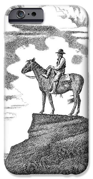 Old-West-Art-Cowboy iPhone Case by Gordon Punt
