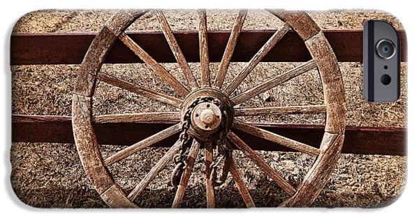 Wooden Wagons iPhone Cases - Old West Wheel iPhone Case by Kelley King