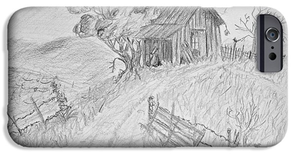 Shed Drawings iPhone Cases - Old Woodshed II iPhone Case by Debbie Portwood