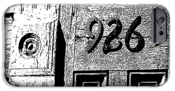 Chip iPhone Cases - Old Worn Wooden Door and Numbers French Quarter New Orleans Black and White Stamp Digital Art iPhone Case by Shawn O