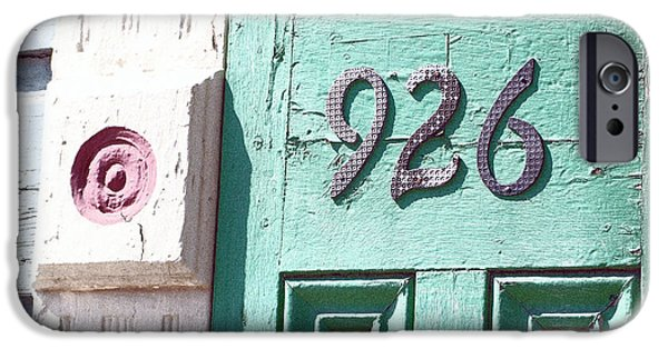 Chip iPhone Cases - Old Worn Wooden Door and Numbers French Quarter New Orleans Film Grain Digital Art iPhone Case by Shawn O