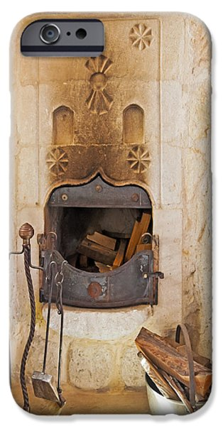 Olde Worlde fireplace in a Cave  iPhone Case by Kantilal Patel