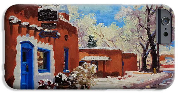 Winter Landscape Paintings iPhone Cases - Oldest Adobe House  iPhone Case by Gary Kim