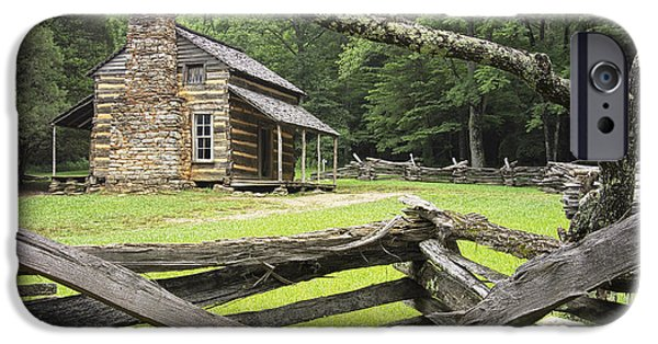 Log Cabin Art iPhone Cases - Oliver Cabin in Cades Cove iPhone Case by Randall Nyhof