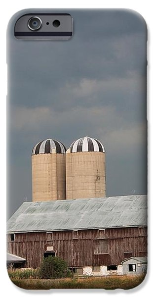 Ominous Clouds Over the Barn iPhone Case by J McCombie