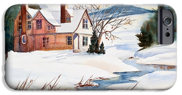 Snowy Day iPhone Cases - On a Winters Day Watercolor Painting iPhone Case by Michelle Wiarda