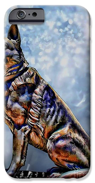German Shepard iPhone Cases - On Guard iPhone Case by Tommy Anderson
