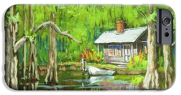 Cabin iPhone Cases - On the Bayou iPhone Case by Dianne Parks
