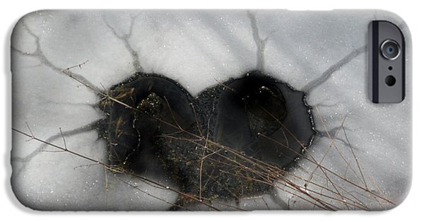 Christmas Greeting iPhone Cases - On the River. Heart in Ice 01 iPhone Case by Ausra Paulauskaite