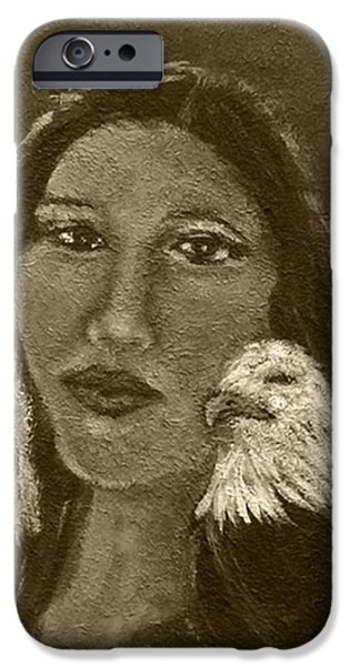 Spiritual Portrait Of Woman iPhone Cases - Onawa Native American Woman of Wisdom with Eagle In Sepia iPhone Case by The Art With A Heart By Charlotte Phillips