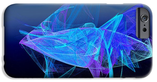 Fine Art Fractal iPhone Cases - One Fish Blue Fish iPhone Case by Andee Design