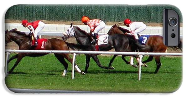 Horse Racing Photographs iPhone Cases - One Two Three iPhone Case by Colleen Kammerer