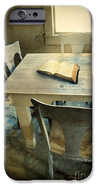 Eerie iPhone Cases - Open Book on Old Table iPhone Case by Jill Battaglia