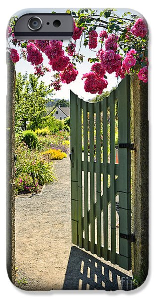 Over Hang iPhone Cases - Open garden gate with roses iPhone Case by Elena Elisseeva
