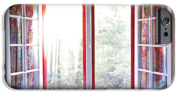 Cabin Window iPhone Cases - Open window in cottage iPhone Case by Elena Elisseeva