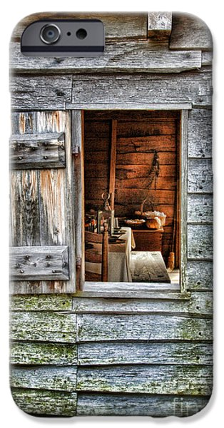 Log Cabin Interiors iPhone Cases - Open Window in Pioneer Home iPhone Case by Jill Battaglia
