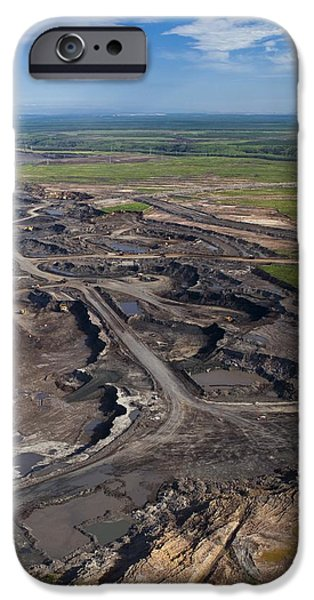 Tar Sands iPhone Cases - Opencast Mine, Athabasca Oil Sands iPhone Case by David Nunuk