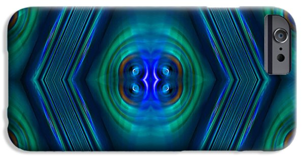 Abstract Digital Art iPhone Cases - Optical Blue iPhone Case by Carolyn Marshall