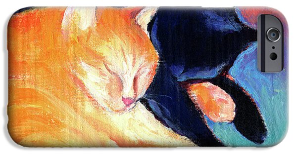Mammals Drawings iPhone Cases - Orange and Black tabby cats sleeping iPhone Case by Svetlana Novikova