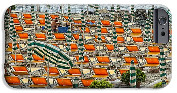 Abstract Digital Pyrography iPhone Cases - Orange Beach Chairs  iPhone Case by Mauro Celotti