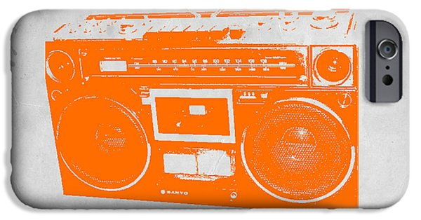 Modernism iPhone Cases - Orange boombox iPhone Case by Naxart Studio