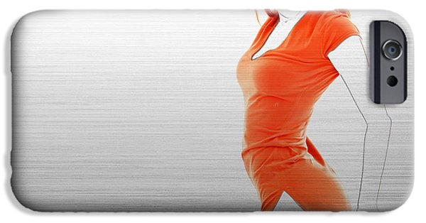 Earrings iPhone Cases - Orange Dress iPhone Case by Naxart Studio