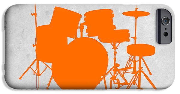 Drummer iPhone Cases - Orange Drum Set iPhone Case by Naxart Studio