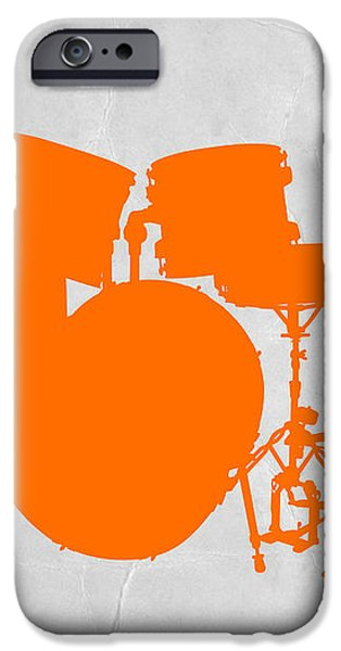 Orange Drum Set iPhone Case by Naxart Studio