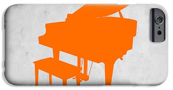 Furniture Photographs iPhone Cases - Orange Piano iPhone Case by Naxart Studio