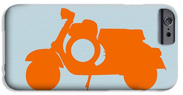 Old Digital Art iPhone Cases - Orange Scooter iPhone Case by Naxart Studio