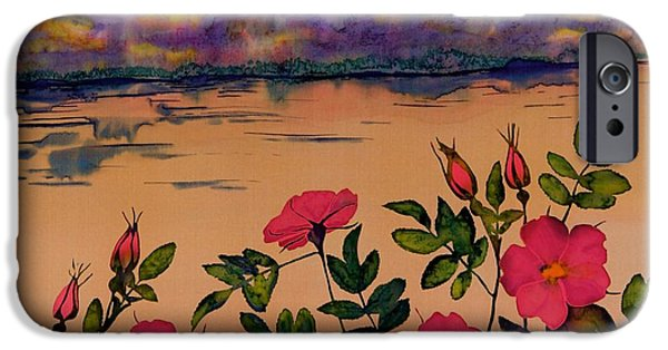 Landscape Tapestries - Textiles iPhone Cases - Orange Sun over Wild Roses iPhone Case by Carolyn Doe