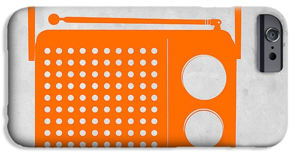 Player Drawings iPhone Cases - Orange Transistor Radio iPhone Case by Naxart Studio