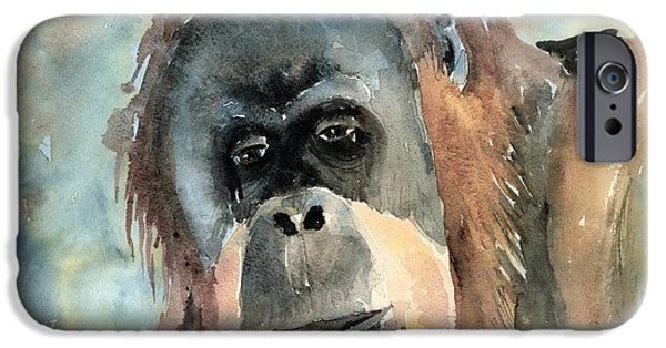 Orangutan iPhone Cases - Orangutan iPhone Case by Arline Wagner