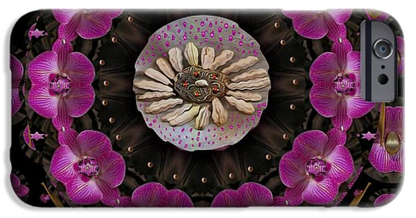 Contemplative Mixed Media iPhone Cases - Orchids And Fantasy Flowers iPhone Case by Pepita Selles