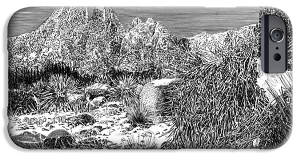 Pen And Ink Framed Prints iPhone Cases - Organ Mountain Wintertime iPhone Case by Jack Pumphrey