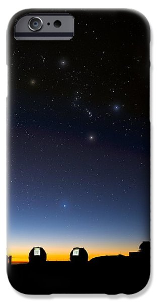 Keck iPhone Cases - Orion And Observatories, Hawaii iPhone Case by David Nunuk
