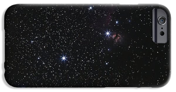 Starfield iPhone Cases - Orions Belt, Horsehead Nebula And Flame iPhone Case by Luis Argerich
